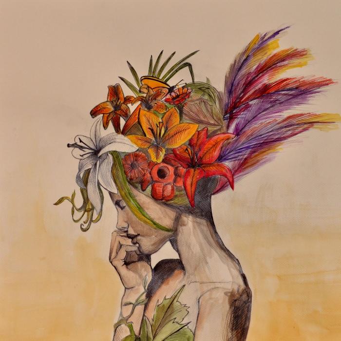 """Ilustración de la serie: """"Estaciones"""", Ruth Agua"""