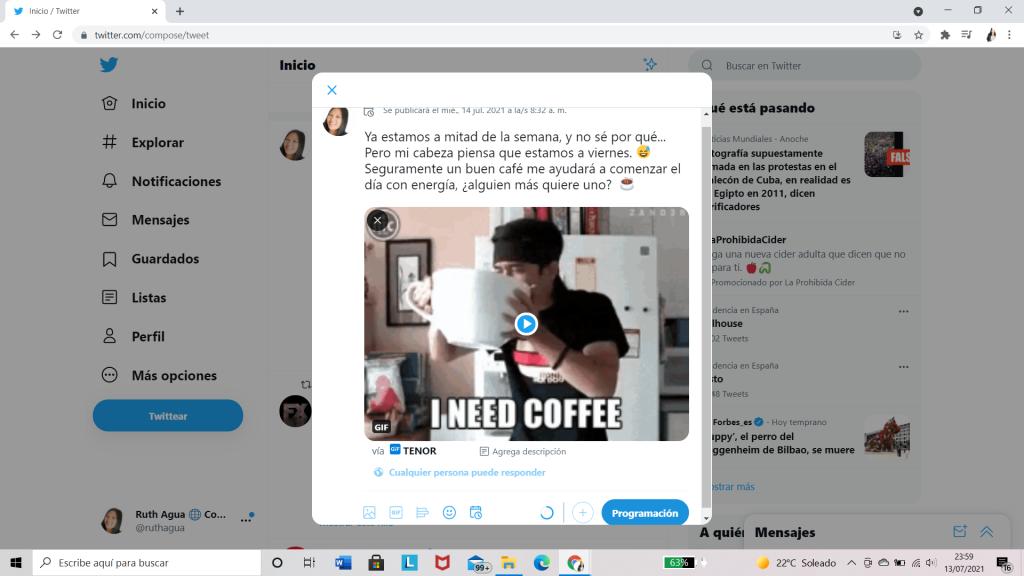 Programar Twitter Tercer Paso
